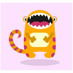 cute funny imaginary yellow jaw monster mascot cartoon character