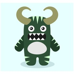 cute funny imaginary green horned monster mascot cartoon character
