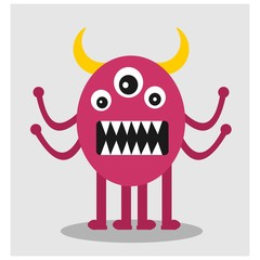cute funny imaginary pink horned monster mascot cartoon character