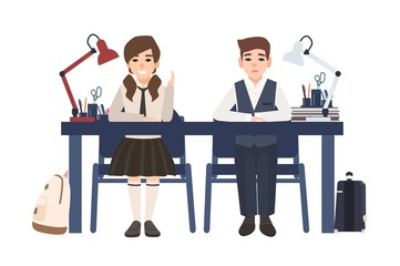 Pair of school boy and girl in uniform sitting at desk isolated on white background. Happy and unhappy pupils listen to lesson in class and prepare to answer. Flat cartoon colored vector illustration.