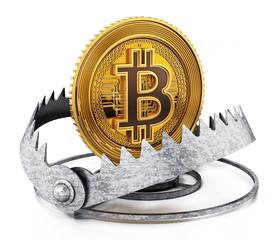 Gold digital coin in ready bear trap. 3D illustration