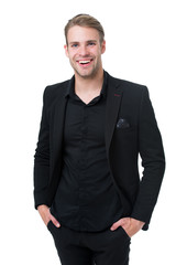 Business dress code. Man happy formal black suit white background. Business casual. Casual look made for professional environment. More comfortable upposed to illustrate high level of professionalism