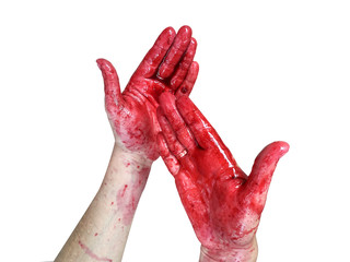 Hands in the blood, Bloody Hands, Isolated white background