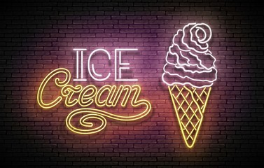 Vintage Glow Poster with Ice Cream Ball in Cone and Inscription