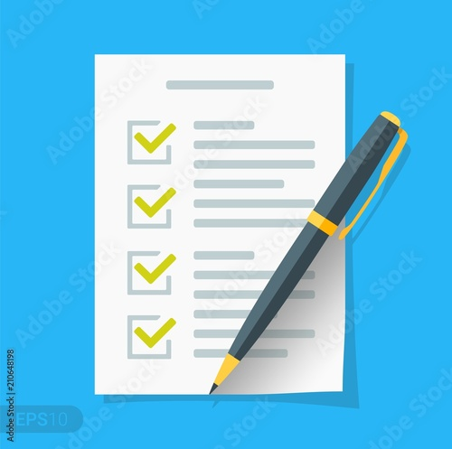 new checklist flat icon document with green ticks checkmarks