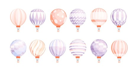 Bundle of round hot air balloons of different texture and color isolated on white background. Set of pastel colored manned flying aircrafts. Colorful vector illustration in flat cartoon style.