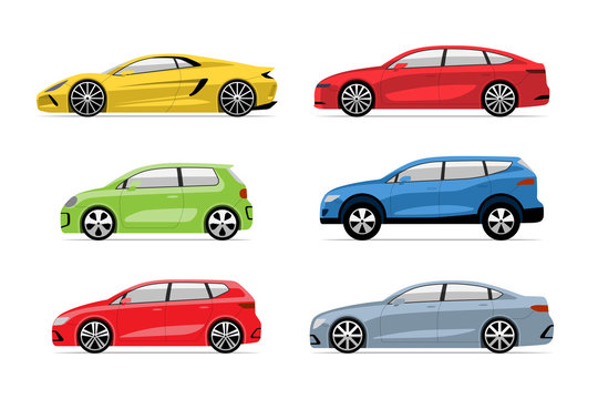 Set of modern cars in flat style. Side view of hatchback, sedan, supercar, SUV, supermini, electric vehicle isolated on white background