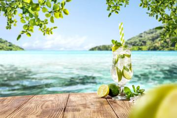 Printed kitchen splashbacks Cocktail summer drink on desk and free space for your decoration.