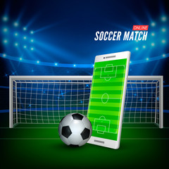 Sports betting online. Bets web banner concept. Soccer stadium background and smartphone with football field on screen and ball. Vector illustration
