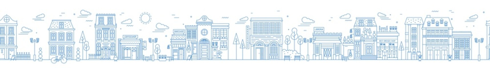 Monochrome seamless urban landscape with city street or district. Cityscape with residential houses and shops drawn with contour lines on white background. Vector illustration in lineart style.