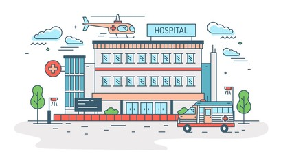Hospital, clinic or medical center building with helicopter landing on top of it and ambulance. Health care institution providing treatment. Colorful vector illustration in modern line art style.