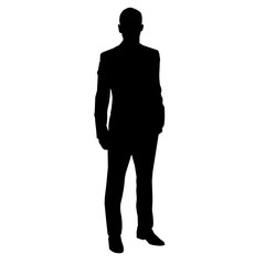 silhouette of a business man in a tuxedo. vector illustration
