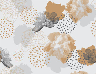 Fototapeten Grafik Druck Modern floral pattern in a halftone style. Seamless vector ornament with flowers and geometric shapes. Peonies on a gray background