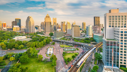 Bangkok city skyline with Lumpini park  from top view in Thailand