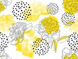 Fototapeten Grafik Druck Seamless vector pattern with yellow peonies and geometric shapes on a white background. Trendy floral pattern in a halftone style.