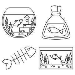 Line art black and white fish elements