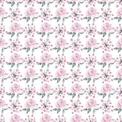 Digital paper gentle pink flower peony watercolor and leaves