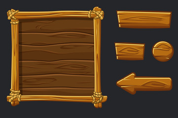 Set Cartoon wood assets, Interface and buttons For Ui Game