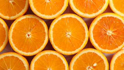 orange slices, top view
