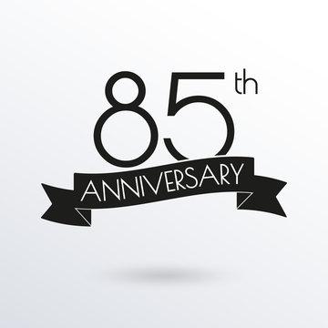 85 years anniversary logo with ribbon. 85th anniversary celebration label. Design element for birthday, invitation, wedding jubilee. Vector illustration.