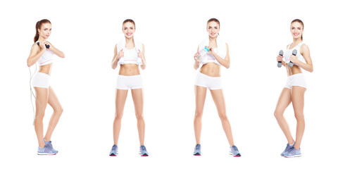 Slim and slender girl in a sport concept. Sport, fitness, weight loss, body care and workout collection.