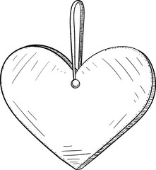 Heart decorative toy sketch.
