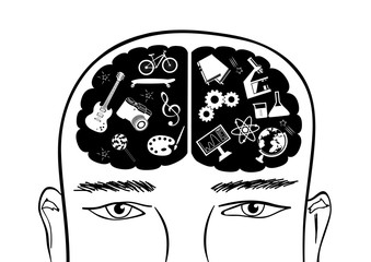 Hand drawn head of man with right and left cerebral hemispheres of brain. Abstract concept of creative and analytical thinking. Black and white doodle vector illustration.