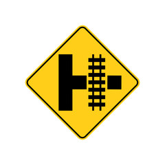 USA traffic road signs. you will encounter a railroad crossing when turning right at the side road intersection ahead . vector illustration