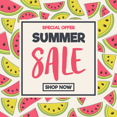 Summer Sale - colourful banner with hand drawn watermelon icons. Vector.