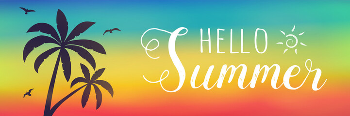 Summer typography with palm trees - colourful banner. Vector.