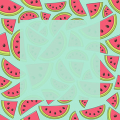 Design of a seamless texture with watermelons. Vector.