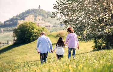 Senior couple with granddaughter outside in spring nature, walking.