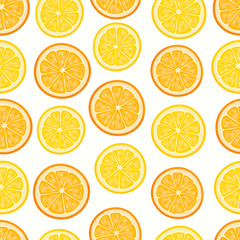 Vector pattern with cartoon lemon and oranges isolated on white.