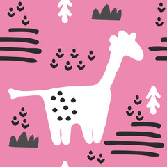 Cute seamless pattern with giraffe. Animal pattern in scandinavian style. For children and kids. For textile,fabric, wrapping or poster. Vector hand drawn illustration.