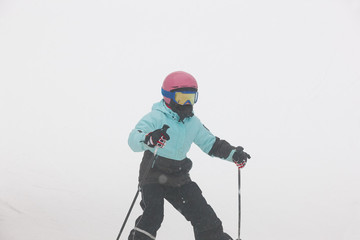 Children starting to learn how to ski. Winter sport