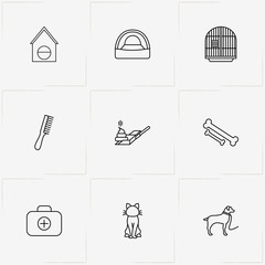 Pets line icon set with first aid kit , comb and dog