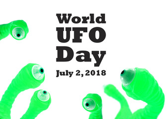 World UFO Day illustration. Green eyeballs stock images. Alien green eyes picture. Scary green eyeballs on a white background. Crazy background with eyes. Important day