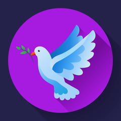 Blue dove of peace icon. Flying blue bird and peace concept. Pacifism concept. Free Flying dove icon - symbol of God, peace on earth, divine providence, the angel of God. Can be used as church logo