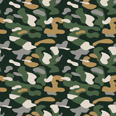 Camouflage pattern background seamless vector illustration. Classic military clothing style. Camo repeat texture shirt print. Green brown black grey navy colors marines texture