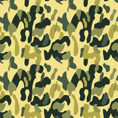 Camouflage pattern background seamless vector illustration. Classic military clothing style. Camo repeat texture shirt print. Khaki yellow black olive colors forest texture