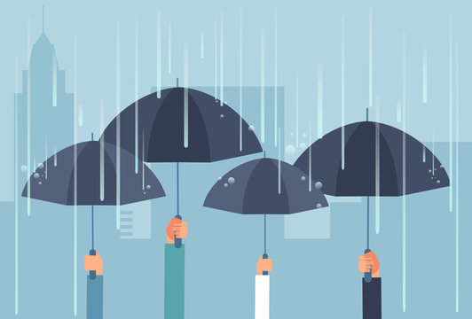 Hands holding umbrellas while thunderstorm. Vector safe cartoon business concept