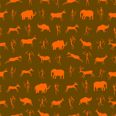 Seamless pattern. Ancient rock drawing with primitive people and prehistoric animals. The Paleolithic era.