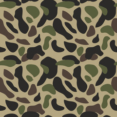 Camouflage pattern background seamless vector illustration. Classic military clothing style. Camo repeat texture shirt print. Green brown black olive colors forest texture