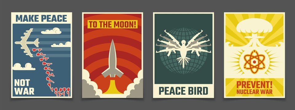 Soviet anti war, peaceful propaganda vector vintage posters