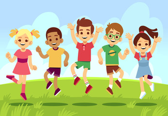 Happy children, boys and girls playing and jumping outdoor. Summer vacation vector concept with cartoon exercising and smiling kids