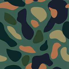Camouflage pattern background seamless vector illustration. Classic military clothing style. Camo repeat texture shirt print. Green navy black blue colors marines texture