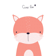 Cute little fox with lettering. Vector hand drawn illustration.