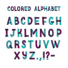 Latin font or decorative english alphabet made of green and purple adhesive tape. Set of letters arranged in alphabetical order and punctuation marks isolated on white background. Vector illustration.