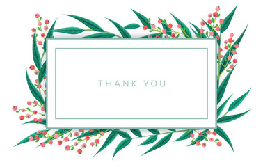Minimal Thank you note frame with green leaf and red berry. Vector illustration, isolated on white, horizontal banner for nature and floral design