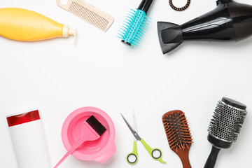 Image of subjects for hairdresser, hair dryer, comb, elastic for hair, scissors isolated